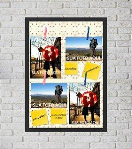 Quadro Porta Foto e Recadinho com Varal 33x43cm flor preto