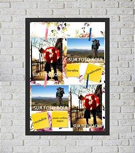 Quadro Porta Foto e Recadinho com Varal 33x43cm flowers colors preto