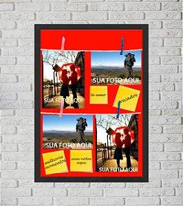 Quadro Porta Foto e Recadinho com Varal 33x43cm fundo cinza preto