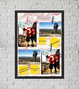 Quadro Porta Foto e Recadinho com Varal 33x43cm i love dad preto