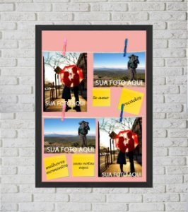 Quadro Porta Foto e Recadinho com Varal 33x43cm melhor casal 2 preto