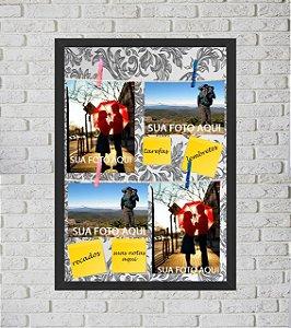 Quadro Porta Foto e Recadinho com Varal 33x43cm petalas cinza old preto