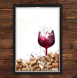 QUADRO CAIXA 33X43 cm  PORTA ROLHA VINHO NERDERIA E LOJARIA taça vinho preto