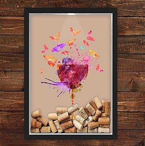 QUADRO CAIXA 33X43 cm  PORTA ROLHA VINHO NERDERIA E LOJARIA vinho colorido preto