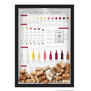 QUADRO CAIXA 33X43 cm  PORTA ROLHA VINHO NERDERIA E LOJARIA vinho wine guide preto