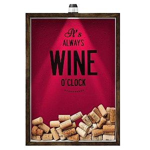 Quadro Caixa 33x43 cm Porta Rolha de Vinho (Com Led) Nerderia e Lojaria led vinho wine o clock madeira