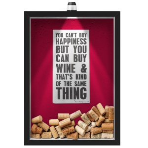 Quadro Caixa Porta Rolha de Vinho 33x43 cm (Com Led) Lojaria e Nerderia. led vinho happiness preto
