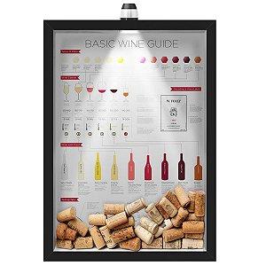 Quadro Caixa Porta Rolha de Vinho 33x43 cm (Com Led) Lojaria e Nerderia. led vinho wine guide preto