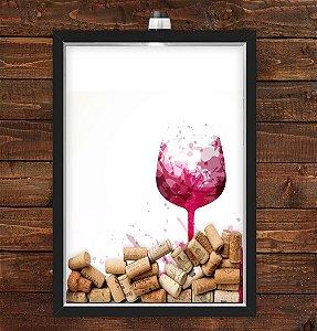 Quadro Caixa Porta Rolha de Vinho 33x43 cm (Com Led) Lojaria e Nerderia. taça vinho preto