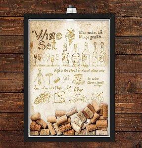 Quadro Caixa Porta Rolha de Vinho 33x43 cm (Com Led) Lojaria e Nerderia. wine set preto