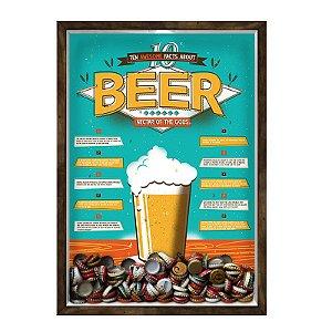 QUADRO 33X43  PORTA TAMPINHA CERVEJA Nerderia e Lojaria cerveja 10 beer facts madeira
