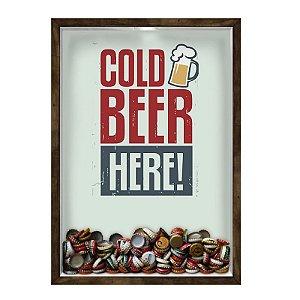 QUADRO 33X43  PORTA TAMPINHA CERVEJA Nerderia e Lojaria cerveja cold beer here madeira