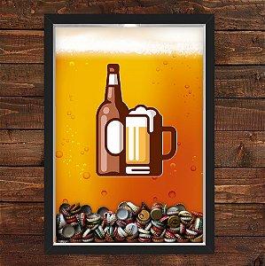 QUADRO CAIXA 33X43  PORTA TAMPINHA CERVEJA NERDERIA E LOJARIA beer preto