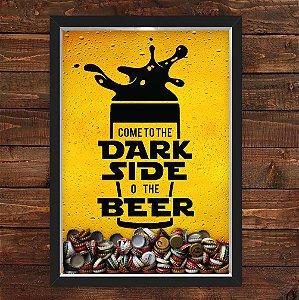 QUADRO CAIXA 33X43  PORTA TAMPINHA CERVEJA NERDERIA E LOJARIA come to the beer side preto