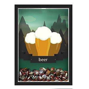 QUADRO CAIXA 33X43 cm  PORTA TAMPINHA CERVEJA NERDERIA E LOJARIA cerveja beer mountains preto
