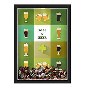 QUADRO CAIXA 33X43 cm  PORTA TAMPINHA CERVEJA NERDERIA E LOJARIA cerveja have a beer preto