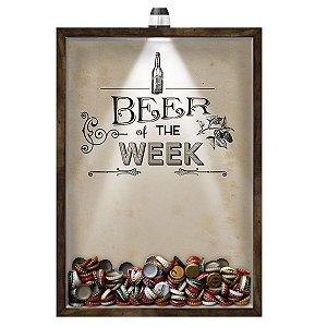 Quadro Caixa 33x43 cm Porta Tampinha Cerveja (Com Led) Nerderia e Lojaria led cerveja beer of the week madeira