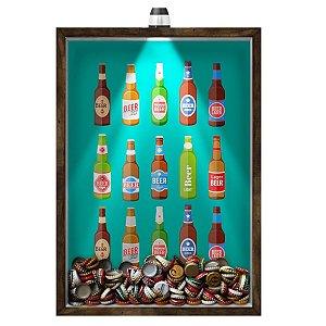 Quadro Caixa 33x43 cm Porta Tampinha Cerveja (Com Led) Nerderia e Lojaria led cerveja beers madeira