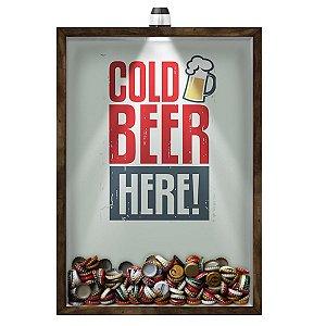 Quadro Caixa 33x43 cm Porta Tampinha Cerveja (Com Led) Nerderia e Lojaria led cerveja cold beer here madeira