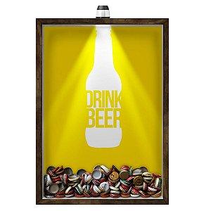 Quadro Caixa 33x43 cm Porta Tampinha Cerveja (Com Led) Nerderia e Lojaria led cerveja drink beer madeira