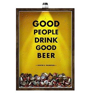 Quadro Caixa 33x43 cm Porta Tampinha Cerveja (Com Led) Nerderia e Lojaria led cerveja good people good beer madeira