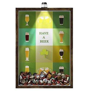 Quadro Caixa 33x43 cm Porta Tampinha Cerveja (Com Led) Nerderia e Lojaria led cerveja have a beer madeira