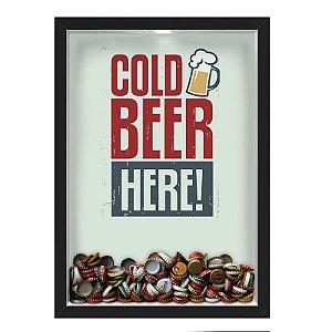 QUADRO CAIXA 33X43 cm PORTA TAMPINHA CERVEJA NERDERIA E LOJARIA cerveja cold beer here preto