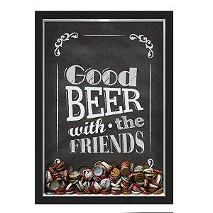 QUADRO CAIXA 33X43 cm PORTA TAMPINHA CERVEJA NERDERIA E LOJARIA cerveja good beer preto