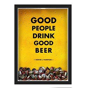 QUADRO CAIXA 33X43 cm PORTA TAMPINHA CERVEJA NERDERIA E LOJARIA cerveja good people good beer preto