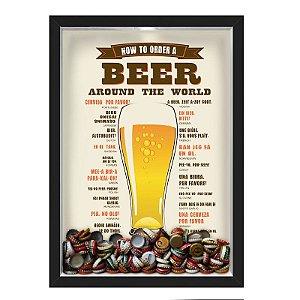 QUADRO CAIXA 33X43 cm PORTA TAMPINHA CERVEJA NERDERIA E LOJARIA cerveja how to order a beer preto