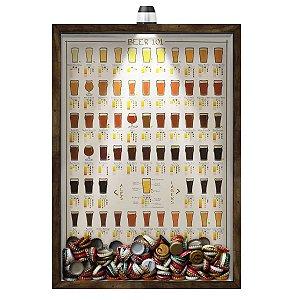 Quadro Caixa 33x43 cm Porta Tampinha Cerveja (Com Led) Nerderia e Lojaria led cerveja 101 beers madeira