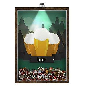 Quadro Caixa 33x43 cm Porta Tampinha Cerveja (Com Led) Nerderia e Lojaria led cerveja beer mountains madeira