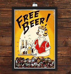 Quadro Caixa Porta Tampinha Cerveja 33x43 cm (Com Led) Lojaria e Nerderia. free beer preto