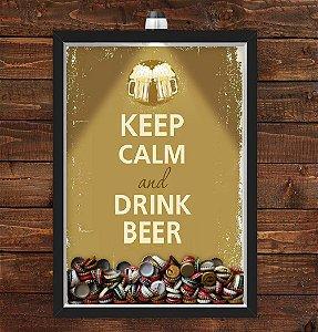 Quadro Caixa Porta Tampinha Cerveja 33x43 cm (Com Led) Lojaria e Nerderia. keep calm beer preto
