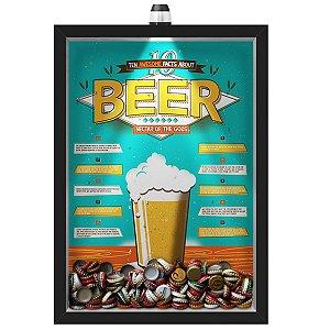 Quadro Caixa Porta Tampinha Cerveja 33x43 cm (Com Led) Lojaria e Nerderia. led cerveja 10 beer facts preto