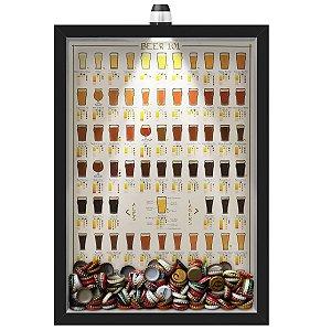 Quadro Caixa Porta Tampinha Cerveja 33x43 cm (Com Led) Lojaria e Nerderia. led cerveja 101 beers preto