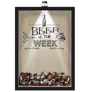 Quadro Caixa Porta Tampinha Cerveja 33x43 cm (Com Led) Lojaria e Nerderia. led cerveja beer of the week preto
