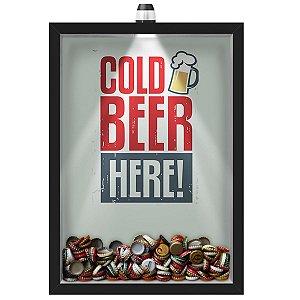 Quadro Caixa Porta Tampinha Cerveja 33x43 cm (Com Led) Lojaria e Nerderia. led cerveja cold beer here preto