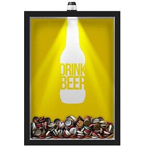 Quadro Caixa Porta Tampinha Cerveja 33x43 cm (Com Led) Lojaria e Nerderia. led cerveja drink beer preto