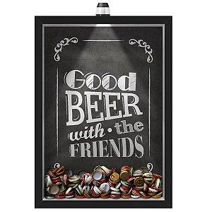 Quadro Caixa Porta Tampinha Cerveja 33x43 cm (Com Led) Lojaria e Nerderia. led cerveja good beer black preto