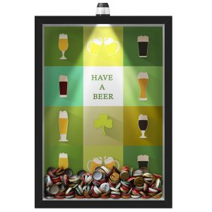Quadro Caixa Porta Tampinha Cerveja 33x43 cm (Com Led) Lojaria e Nerderia. led cerveja have a beer preto