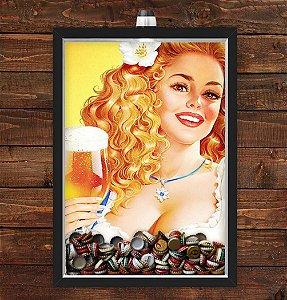 Quadro Caixa Porta Tampinha Cerveja 33x43 cm (Com Led) Lojaria e Nerderia. pin up girl beer preto