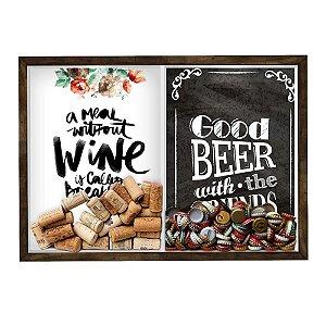 Quadro CAIXA Porta Rolha Vinho E Tampinha Cerveja (2 Em 1) 33x43 cm  Nerderia e Lojaria Breakfast e Good beer black made