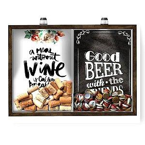 Quadro CAIXA 33x43 cm Porta Rolha Vinho E Tampinha Cerveja (2 Em 1) - Com LED Nerderia e Lojaria breakfast e Good beer b