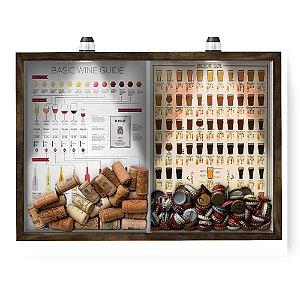 Quadro CAIXA 33x43 cm Porta Rolha Vinho E Tampinha Cerveja (2 Em 1) - Com LED Nerderia e Lojaria Wine guide e beer 101 m