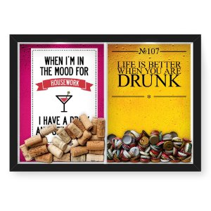 Quadro Porta Rolha Vinho E Tampinha Cerveja (2 Em 1) 33x43 cm  Nerderia e Lojaria housework e drunk preto
