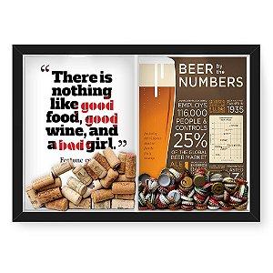 Quadro Porta Rolha Vinho E Tampinha Cerveja (2 Em 1) 33x43 cm  Nerderia e Lojaria bab girl e beer numbers preto