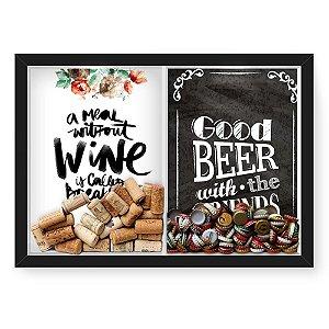 Quadro Porta Rolha Vinho E Tampinha Cerveja (2 Em 1) 33x43 cm  Nerderia e Lojaria Breakfast e Good beer black preto