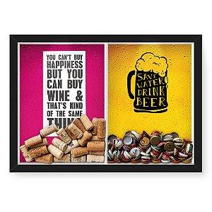 Quadro Porta Rolha Vinho E Tampinha Cerveja (2 Em 1) 33x43 cm  Nerderia e Lojaria Happiness e save water preto