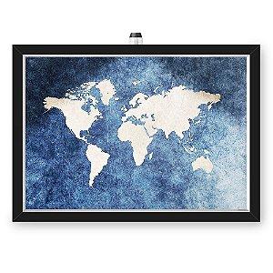 Quadro Caixa MAPA 33x43 cm (Com Led) Lojaria e Nerderia. mapa azul preto